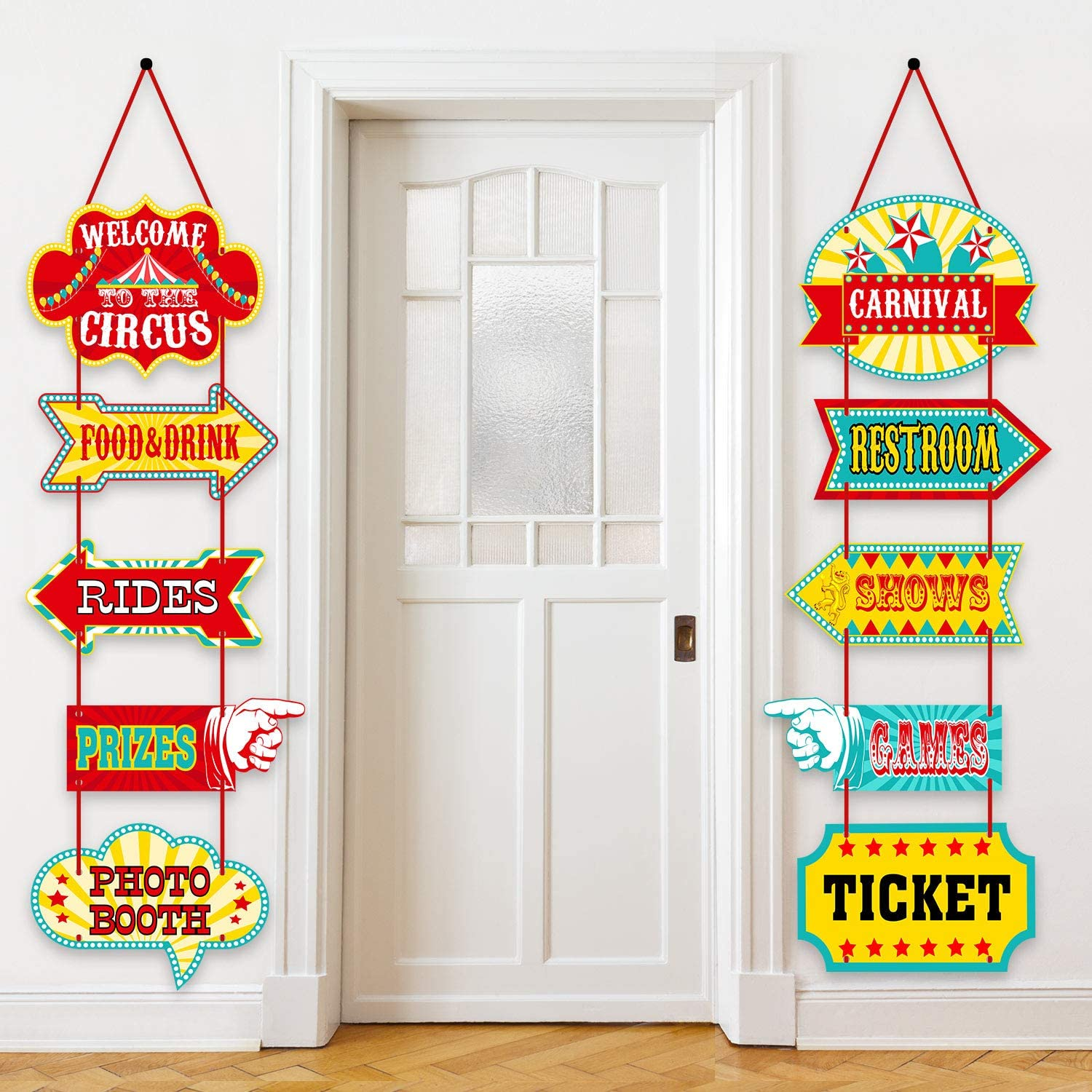 Blulu Carnival Decorations, Laminated Circus Carnival Signs Circus Theme Party Signs Carnival Party Supply Decor Paper Cutouts with 2 Ribbons and Glue Point Dots (Style A)