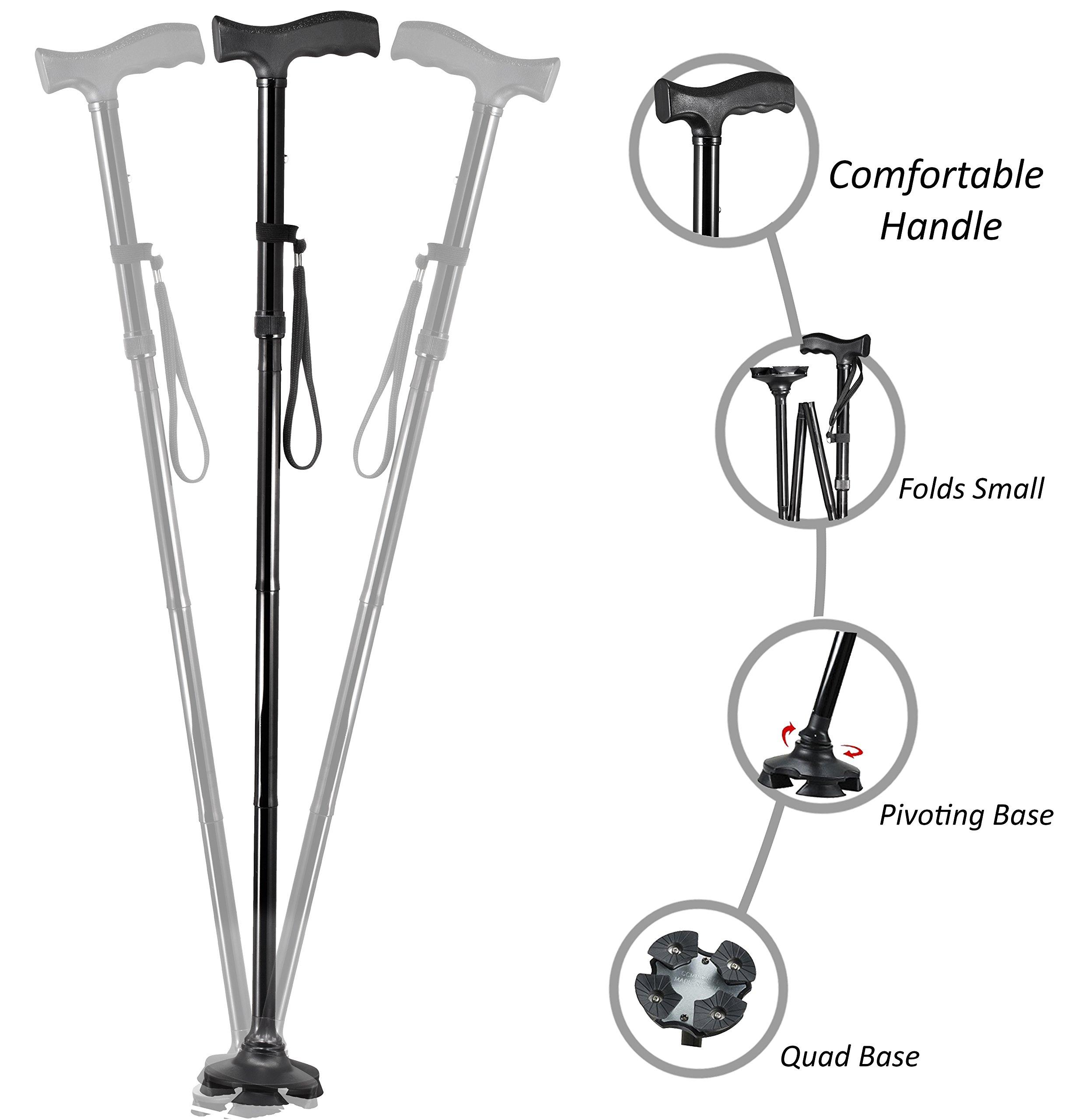 Medi-Cane Folding Travel Cane with Pivoting Wide Quad Foot Base Adjustable Hight Cane (Medium)