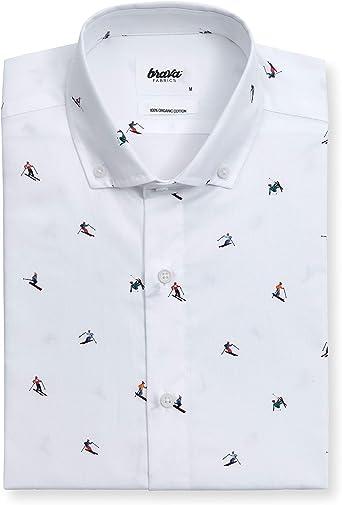 Brava Fabrics - Camisa Hombre - Camisa Casual para Hombre - Camisa de Hombre - 100% Algodón - Modelo Slalom RaceWhite: Amazon.es: Ropa y accesorios
