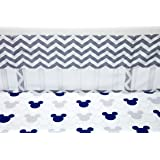 Disney Mickey Mouse - Let's Go Mickey Secure-Me Crib Liner, Navy/Grey/Red/Yellow