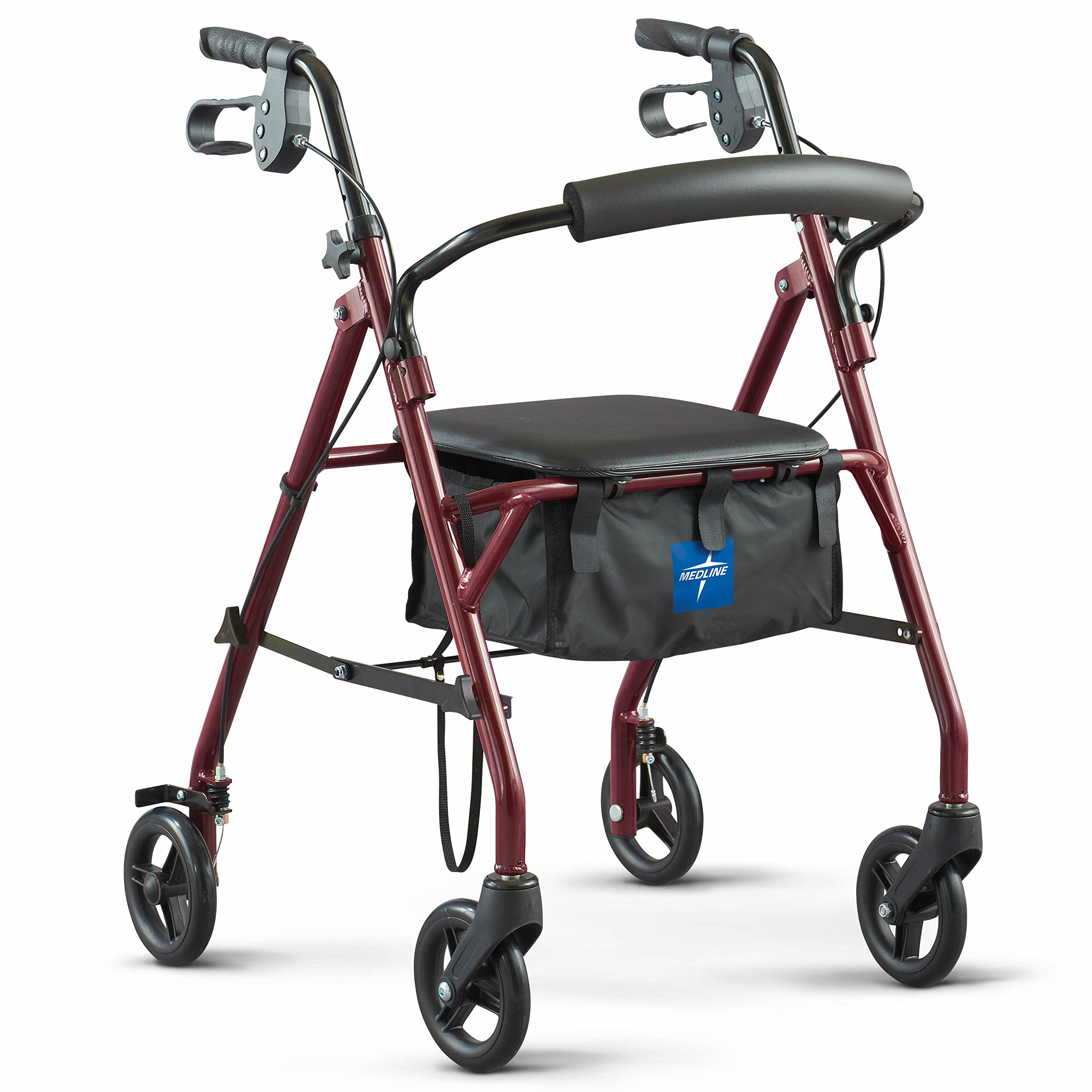 Medline Rollator Walker with Seat, Steel Rolling Walker with 6-inch Wheels Supports up to 350 lbs, Medical Walker, Burgundy by Medline