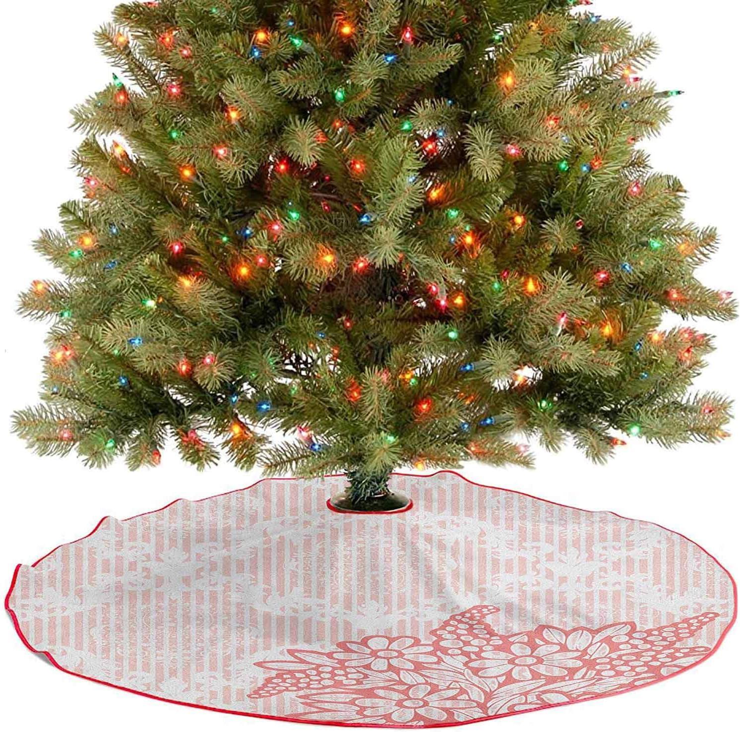 Homesonne Falda grande para árbol de Navidad con diseño de cuadros reales antiguos, decoración de fiesta, perfecta para tu decoración de vacaciones, color coral rosa pálido de 122 cm