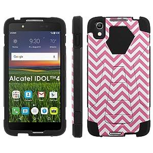 Alcatel One Touch IDOL 4 [Nitro 4/49] Phone Cover, Pink Chevron - Black Hexo Hybrid Armor Phone Case for Alcatel One Touch IDOL 4 [Nitro 4/49]