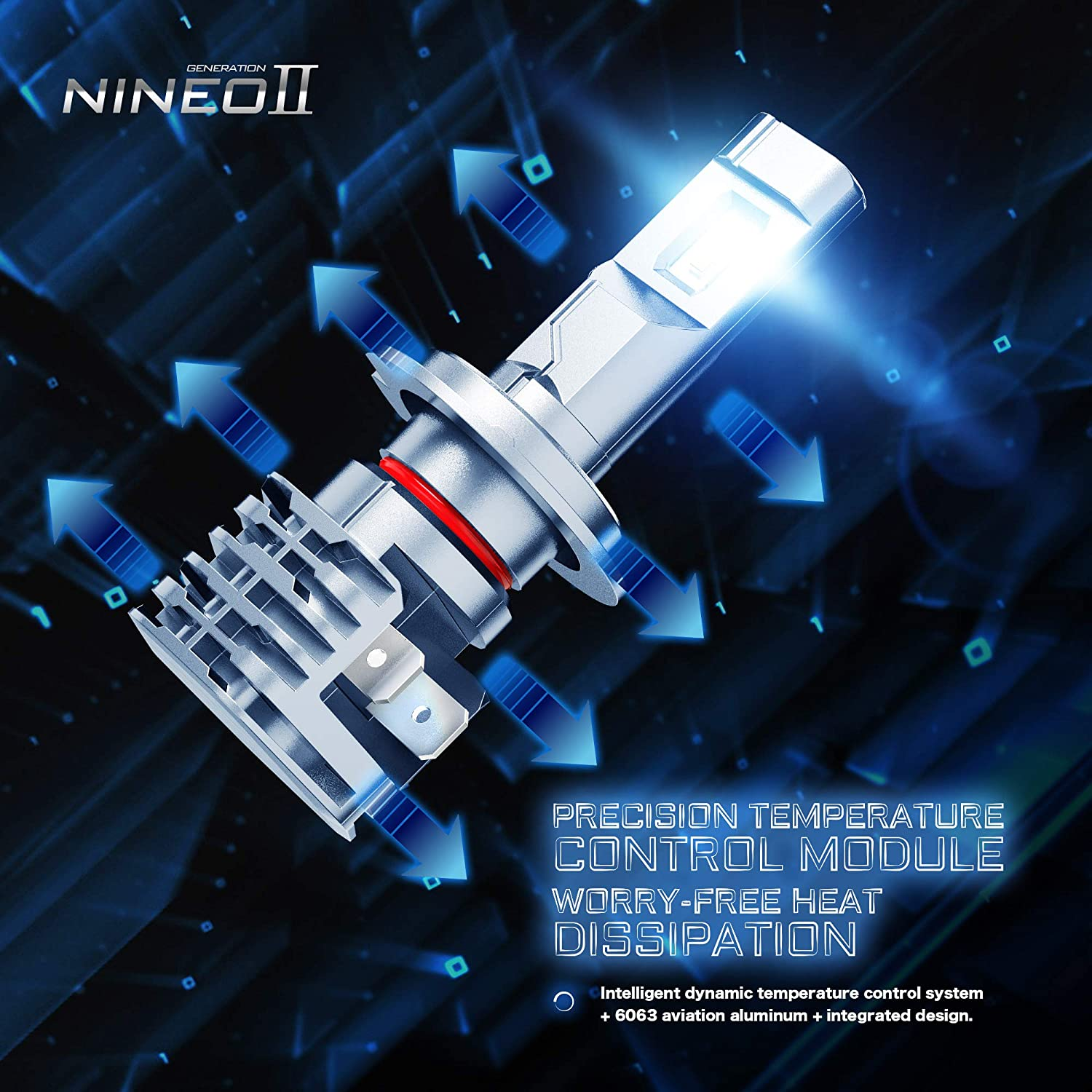 NINEO Fanless H7 LED Headlight Bulbs,Wireless All-in-One Conversion Kit 10000LM 6500K Cool White CREE Chips