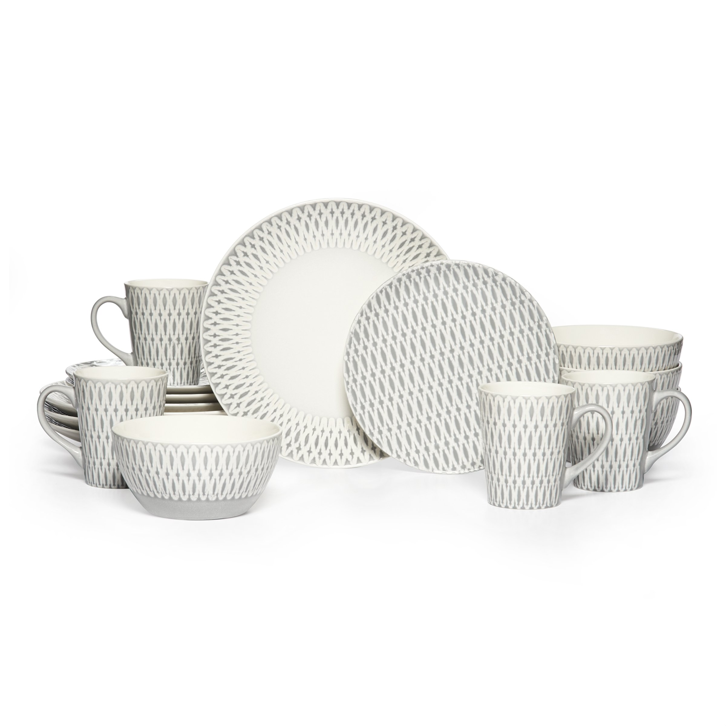 Gourmet Basics by Mikasa Aurora 16 Piece Dinnerware Set (Service For 4), Gray by Gourmet Basics by Mikasa