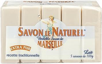 Savon le Naturel - Auténtico jabón de Marsella extrapuro de leche, 5 unidades, 100 g: Amazon.es: Salud y cuidado personal