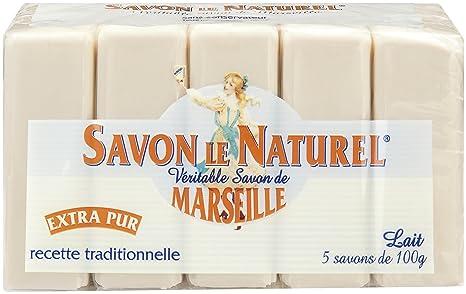 Savon le Naturel - Auténtico jabón de Marsella extrapuro de leche, 5 unidades, 100