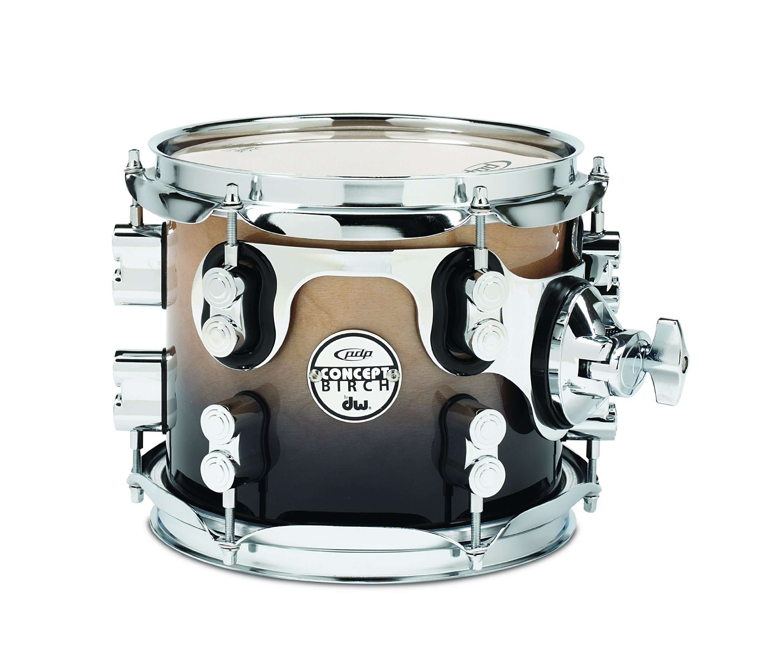 Pacific Drums PDCB0708STNC 7 x 8 Inches Tom with Chrome Hardware - Natural to Charcoal Fade