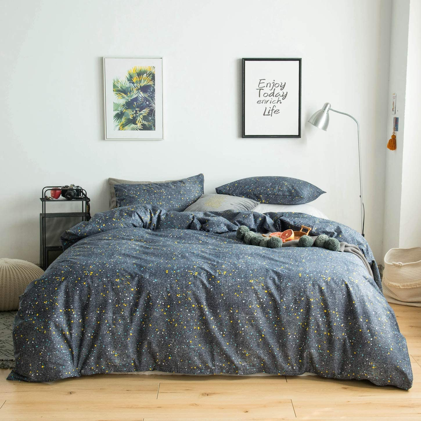 YuHeGuoJi 3 Pieces Duvet Cover Set 100% Cotton Gray King Size Colorful Dotted Bedding Set 1 Galaxy Space Print Duvet Cover with Zipper Ties 2 Pillowcases Luxury Quality Soft Breathable Comfortable