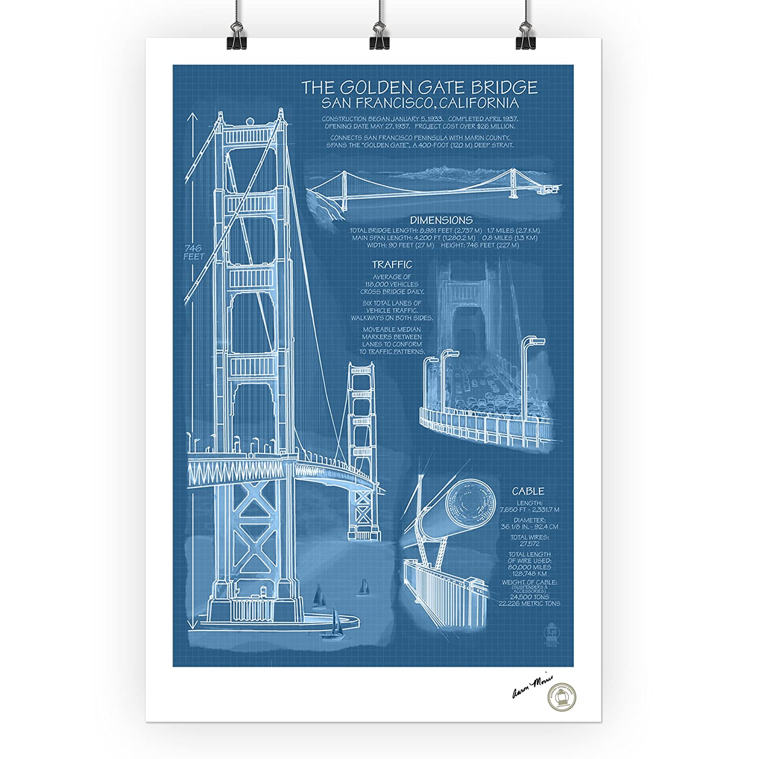 Golden Gate Bridge Technical Blueprint 24x36 Signed Diagram Of The Print Master Giclee W Certificate Authenticity Wall Decor Travel Poster