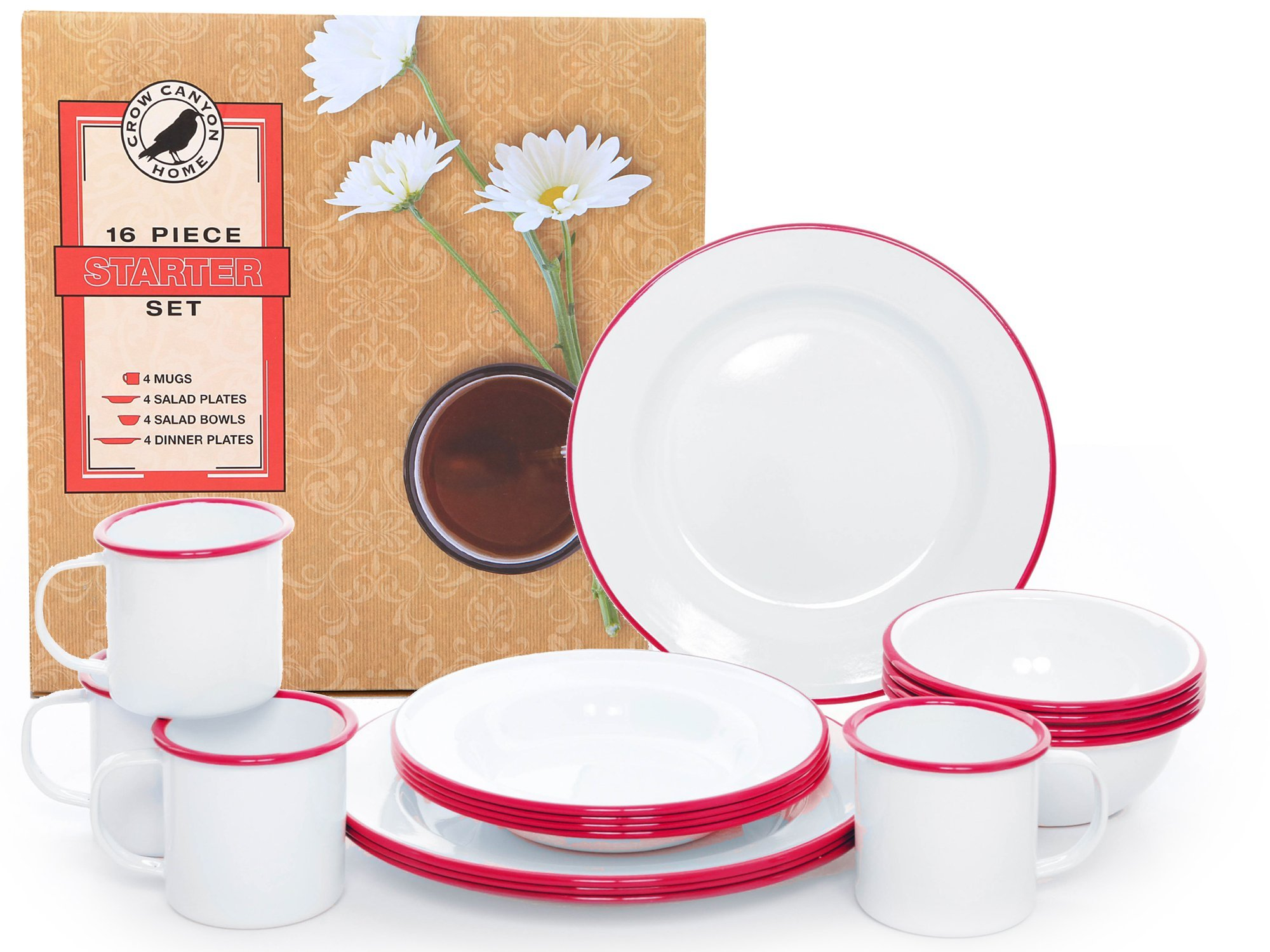 Enamelware 16 Piece Dinnerware Starter Set - Solid White with Red Trim by Crow Canyon Home