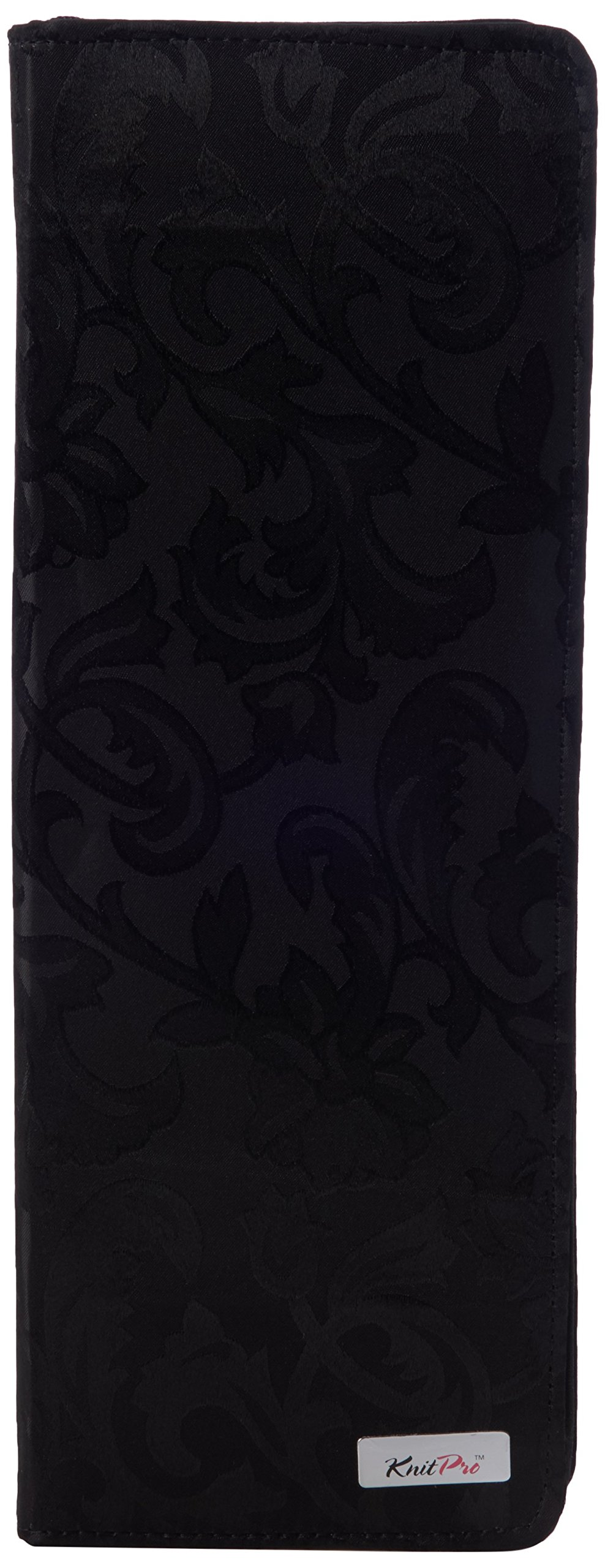 Fabric Knitting Pin Case: Black Jacquard Hard: 40cm