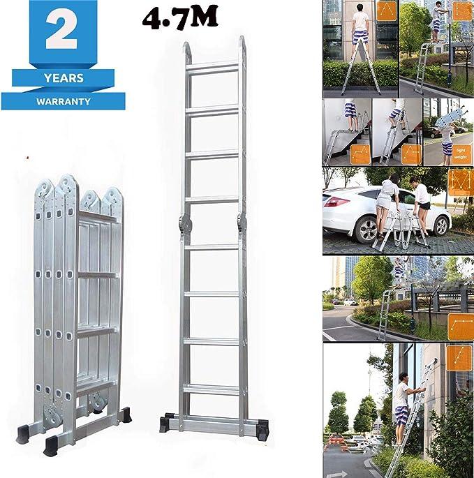Escalera de extensión multiusos de aluminio de 4,7 m para casa, taller, jardín, con 1 bandeja de herramientas, 4 x 4 pasos, multifunción, 2 años de garantía: Amazon.es: Bricolaje y herramientas