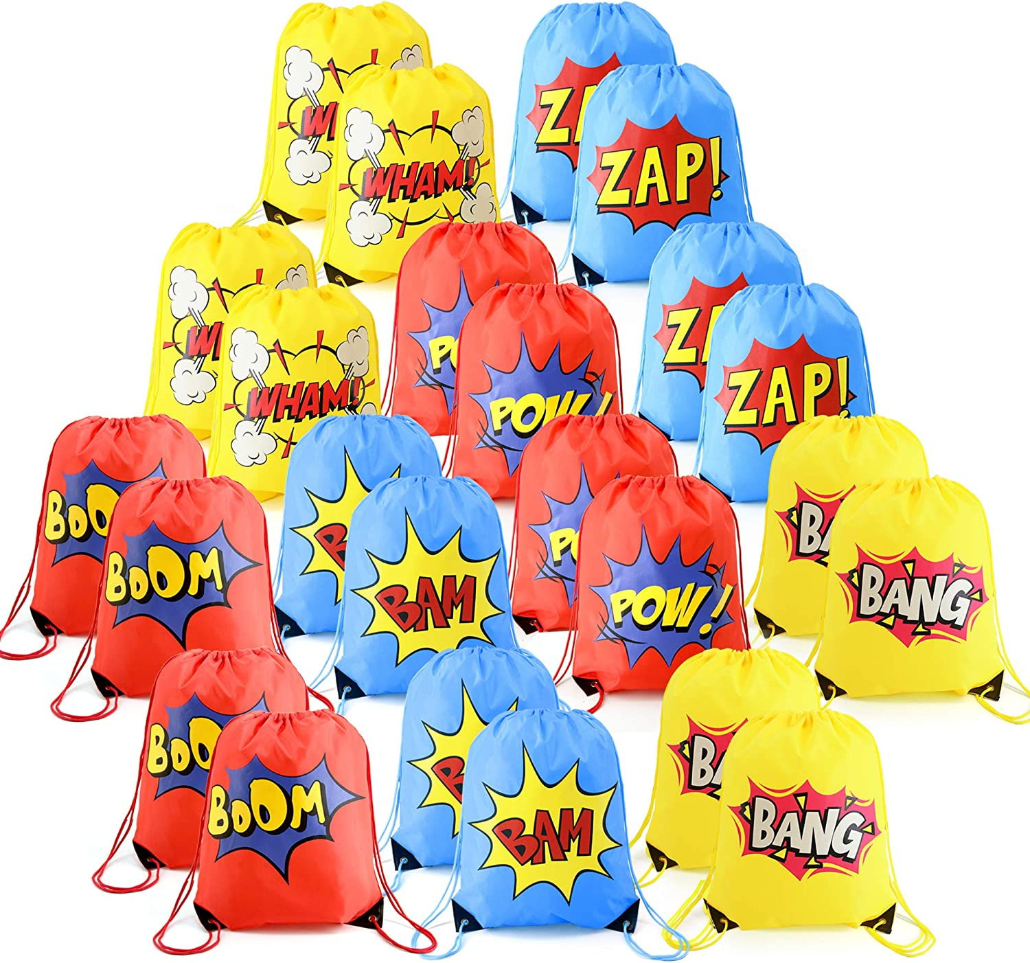 24 Pieces Superhero-Party-Supplies-Favor-Bags-Drawstring Backpacks Cinch Bag Bulk for Kids Girls Boys Birthday Gifts ideas Yellow Blue Red