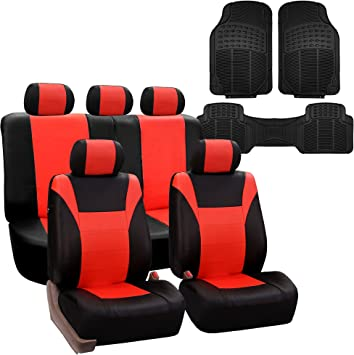 or Van Tangerine//Black- Fit Most Car FH Group FH-FB050114 Full Set Flat Cloth Car Seat Covers Truck SUV