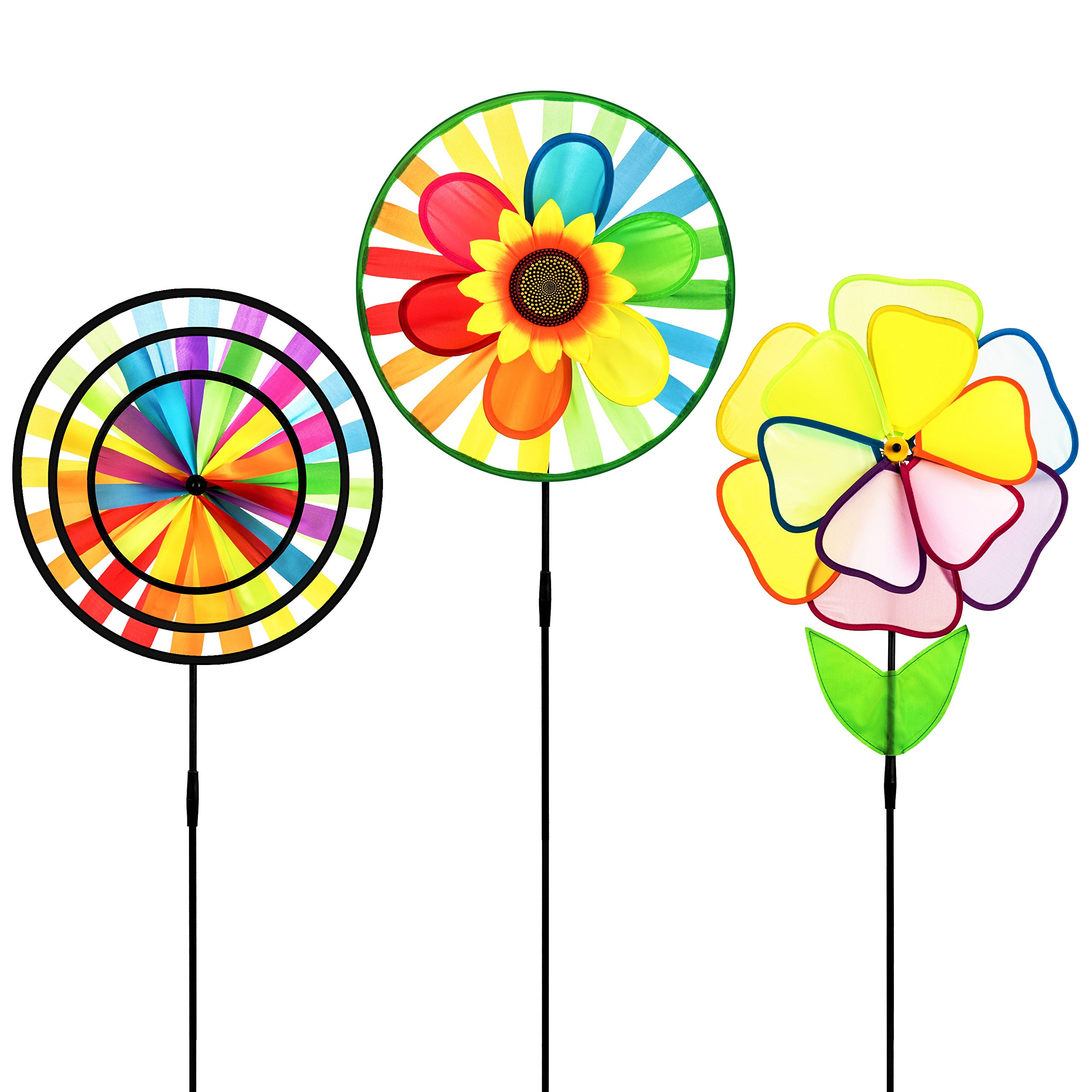 Dreamline Product Pinwheel 3 Pack Made of Durable 100% Weatherproof Nylon and Fiberglass   Rainbow Colored spinner for Gardens dance in the slightest of breezes.
