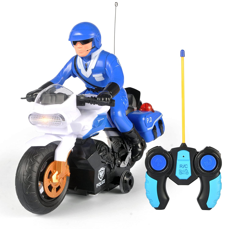 RC Police Patrol Motorcycle Remote Control Motor Bike for Kids
