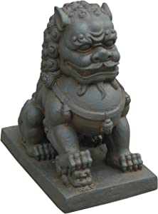 Hi-Line Gift Ltd Foo Dog-Right Paw on Cub Statues, Clay Fibre Brown
