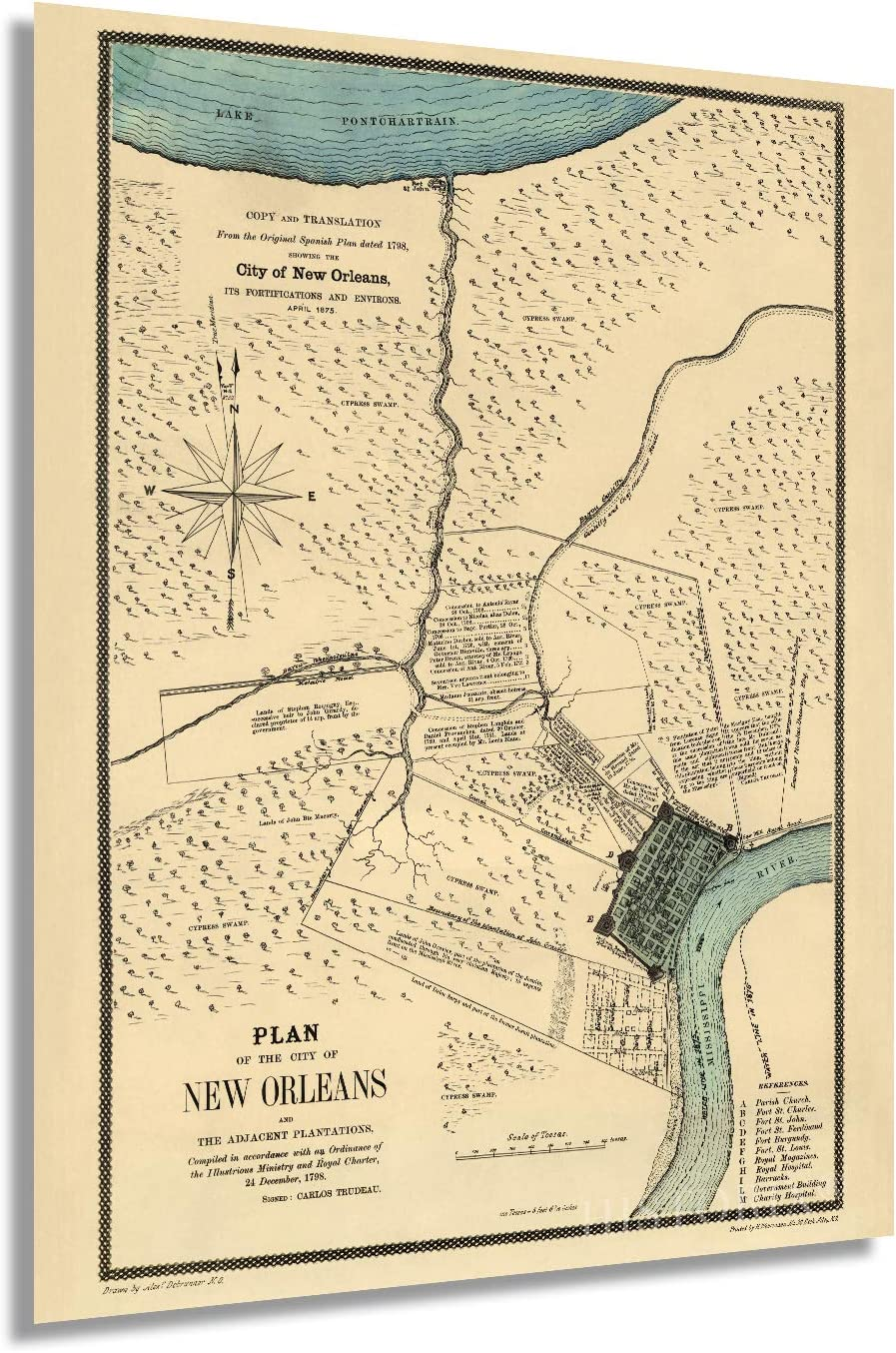 Historix Vintage 1875 New Orleans Louisiana Map - 18x24 Inch Vintage Map of New Orleans Translated from the Original Spanish Plan Dated 1798 - New Orleans Art Wall Decor Poster Print (2 Sizes)