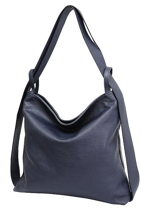 AmbraModa Bolsos de mano de cuero para mujer 2-en-1 con bolsos mochila bolsos de hombro GL019 (azul marino): Amazon.es: Zapatos y complementos