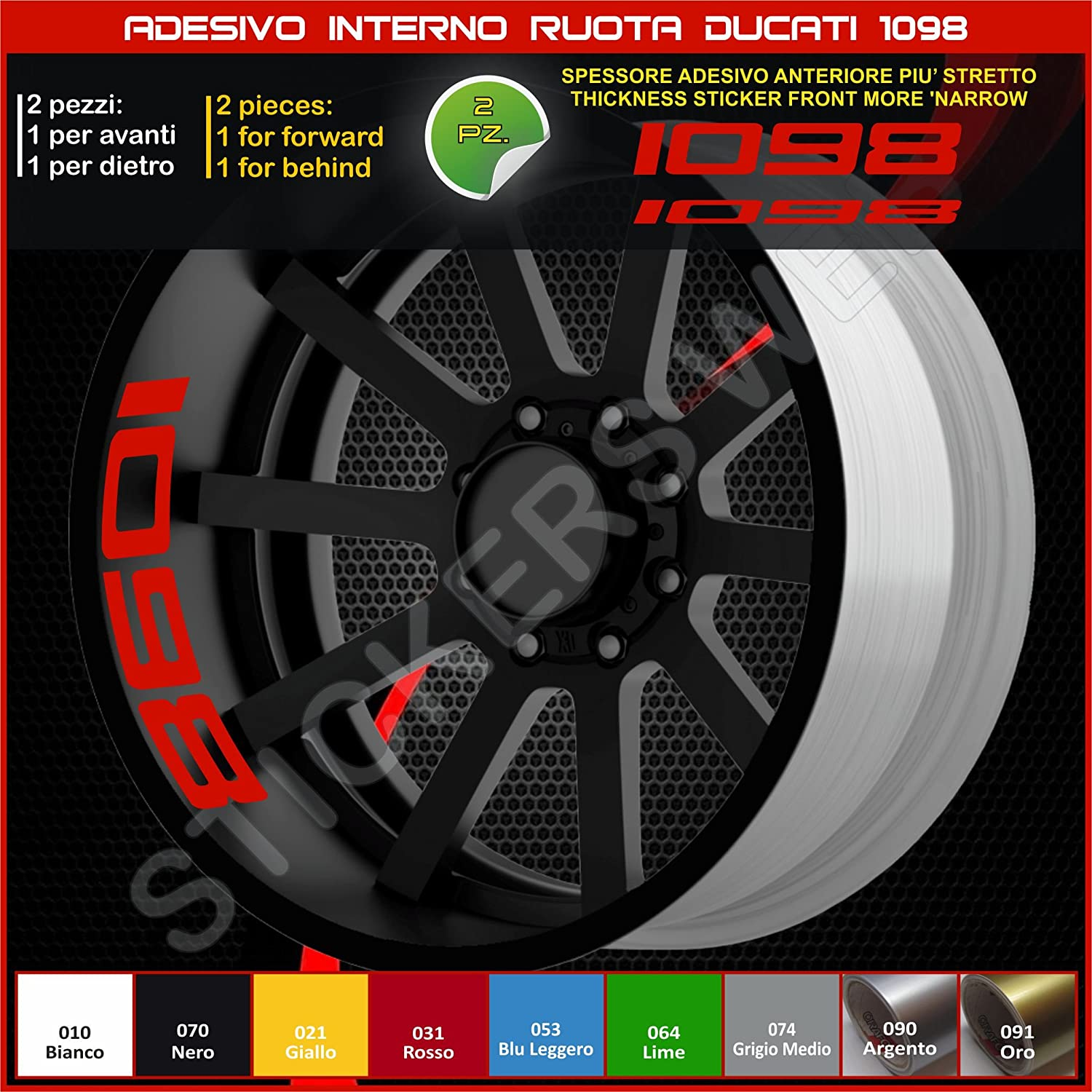 0215 031 Rosso Ducati 1098/Panigale Internal Wheels Stripes Circles Stickers Decals Strip Rims Cod