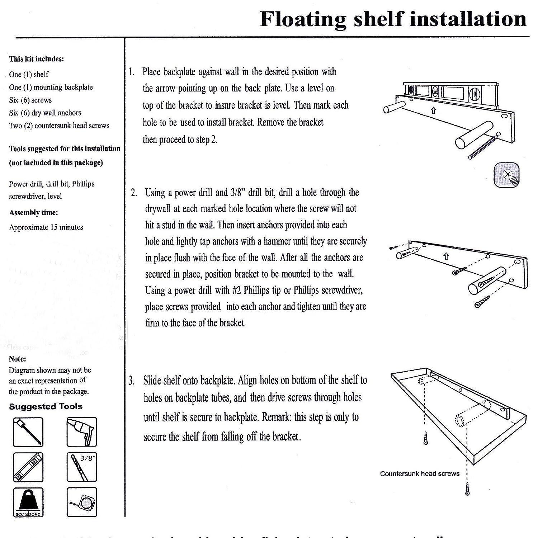 Amazon.com: Welland Chicago Floating Wall Shelf, 10-Inch, Black ...