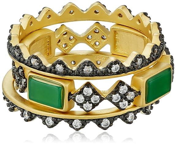 Freida Rothman Green Agate Bar Set of 3 Ring