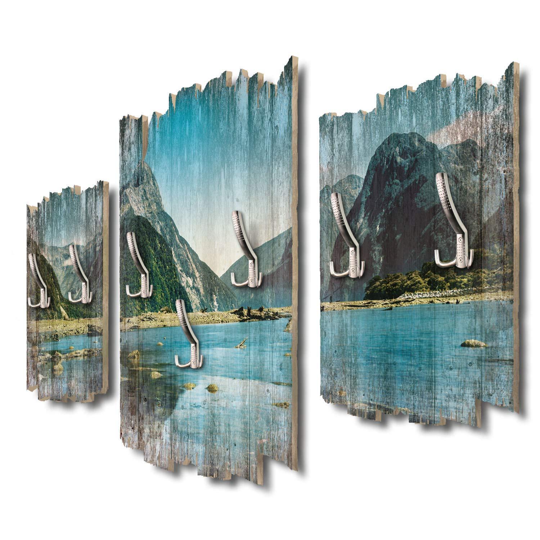 Kreative Feder Milford Sound Neuseeland Designer Wandgarderobe Flurgarderobe Wandpaneele 95 x 60 cm aus MDF-Holz DTGH023