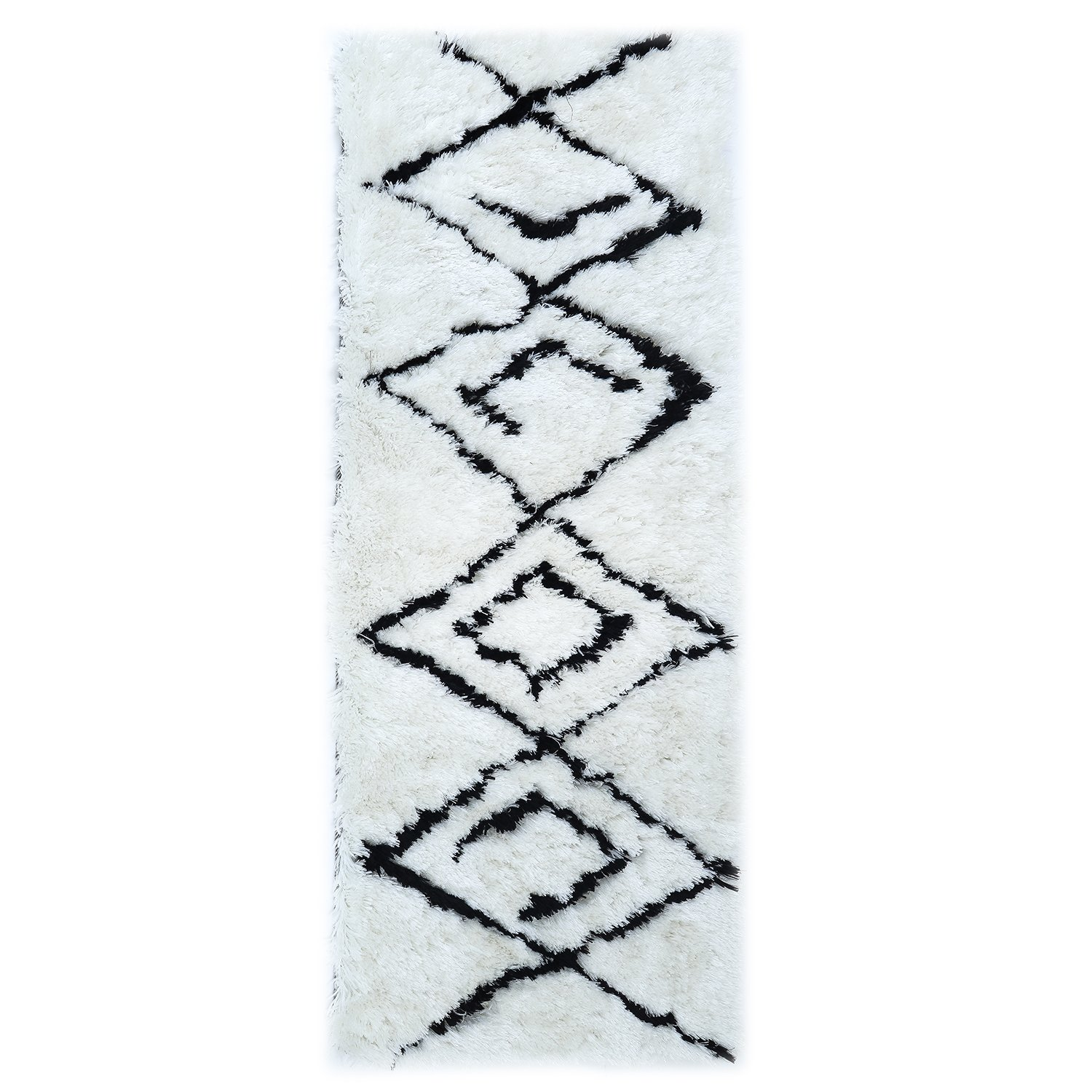 LOCHAS Moroccan Collection Shag Area Rug for Living Room Hallway Contemporary Runner, 2.3' x 6', White and Black