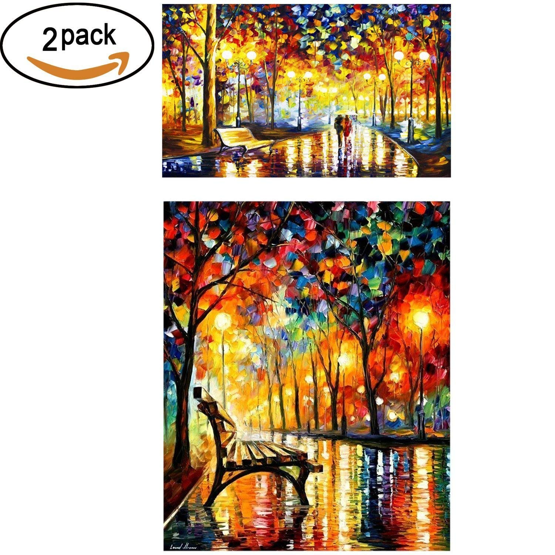 2 Pack 5D DIY Diamond Painting Set Arts Crafts Wall Stickers For Living Room Rainy Night(42x50cm/16.5x19.5)&Walking In The Rainy Night(16x12/40x30cm) BUBBLE