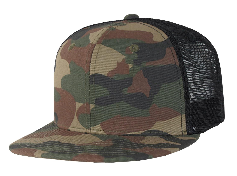 Mesh Camo Flat Bill Trucker Cap Snapbacks by Decky (Woodland Black) at  Amazon Men s Clothing store  Baseball Caps b252680e4c11