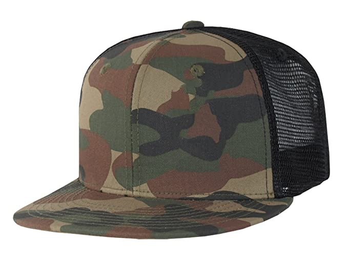 920666a836f Image Unavailable. Image not available for. Color  Mesh Camo Flat Bill  Trucker Cap Snapbacks ...