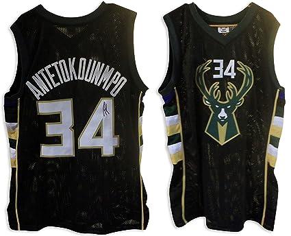 cbbd1f1b087 Giannis Antetokounmpo Milwaukee Bucks Autographed Black Jersey - APE ...