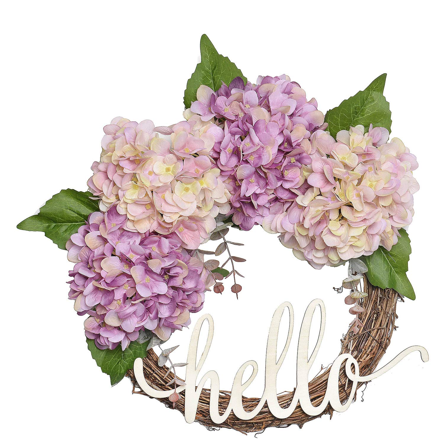 FAVOWREATH 2018 Vitality Series FAVO-W114 Handmade 14 inch Pink,Purple Hydrangea,Wild Grass,Leaf,Hello Letter Grapevine Wreath for Front Door/Wall/Fireplace Hanger Nearly Natural Everyday Home Decor