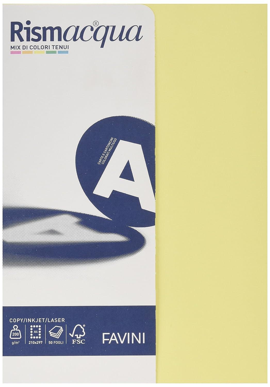 Favini A69X524 Rismacquaa4 Cartoncino, 200 g/Mq, 50 fogli A4 210 X 297, 5 Colori Assortiti Tenui Cartadalettere Cartaperinviti