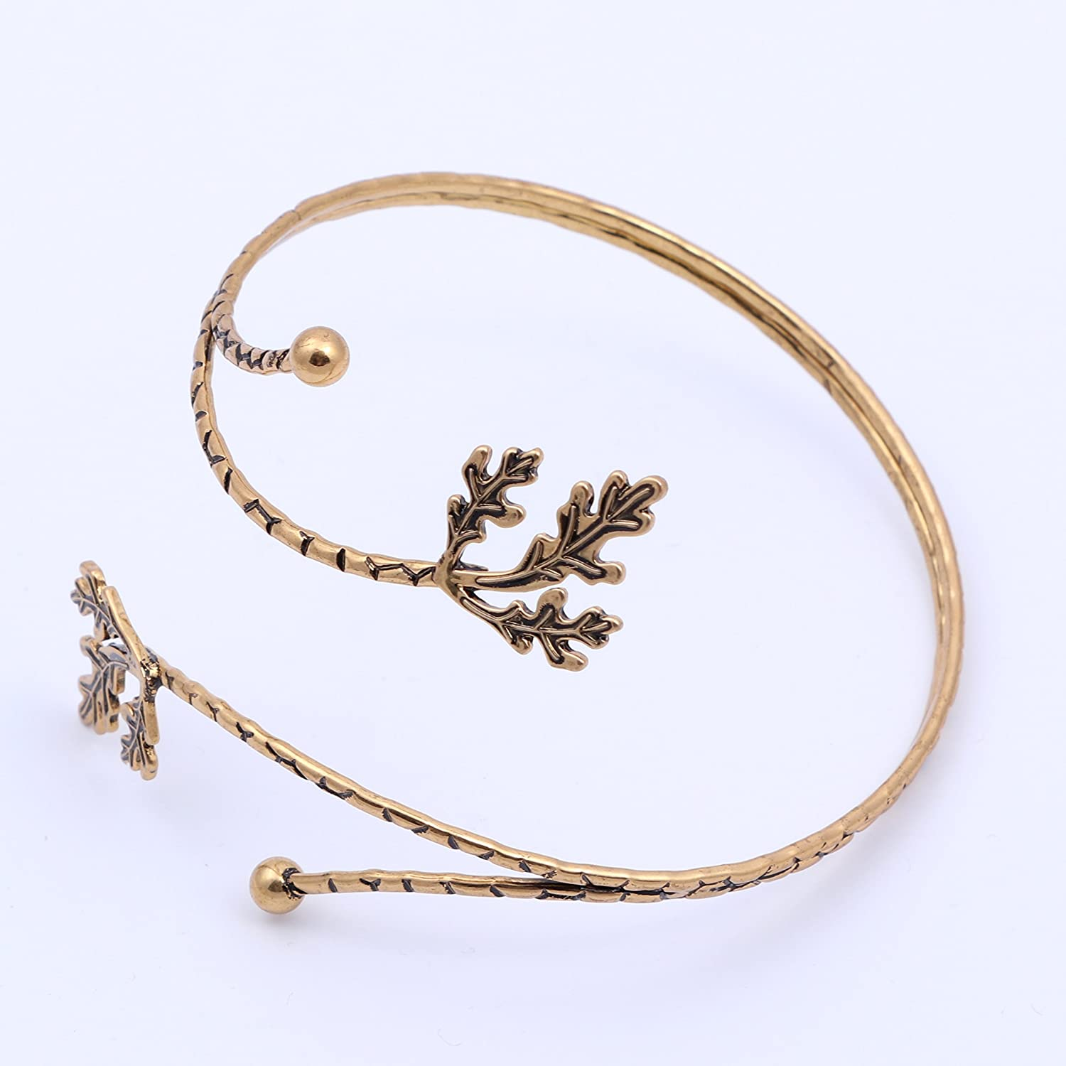 TUSHUO Fashion Gold Tone Leaf Upper Arm Bracelet Armlet Open Bangle Armband