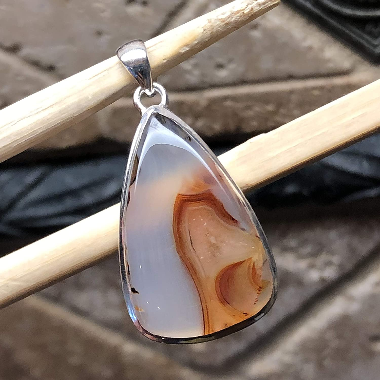 Natural Montana Moss Agate Gemstone Pendant 925 Sterling Silver Pendant Round Boho Cabochon Stone Pendant Handmade Silver Pendant Jewel 25mm