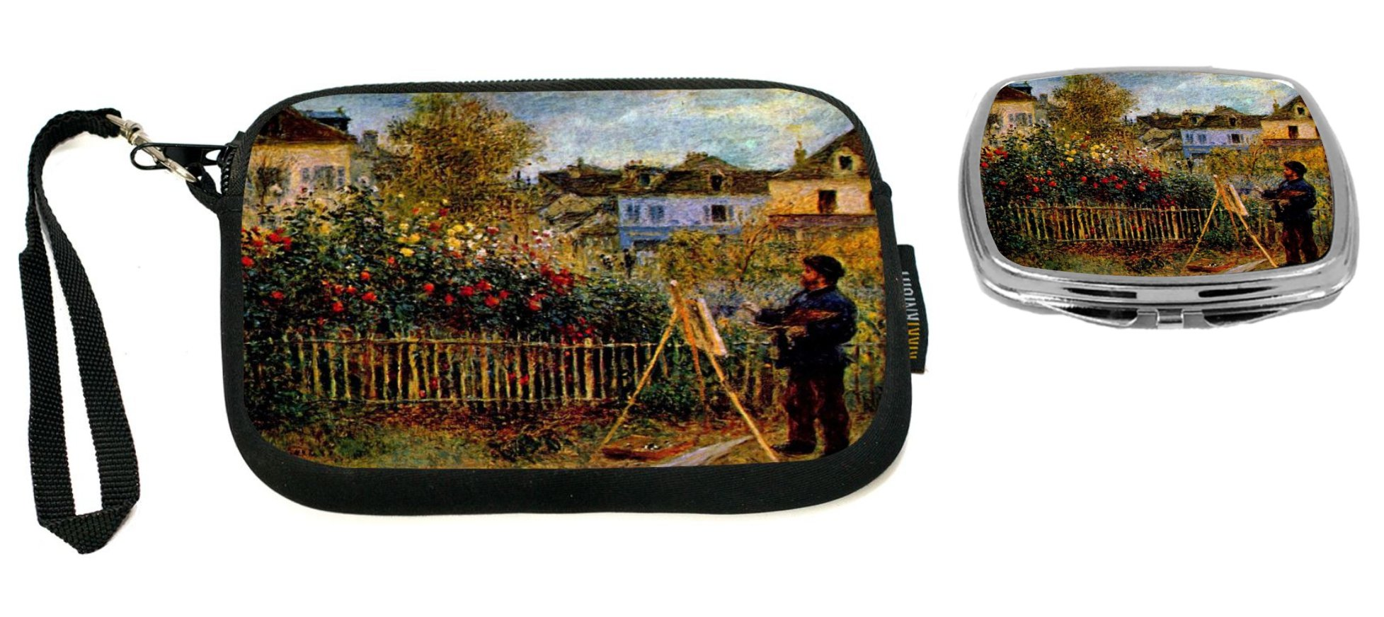 Rikki Knight Monet Painting in his Garden Design Neoprene Clutch Wristlet with Matching Square Compact Mirror