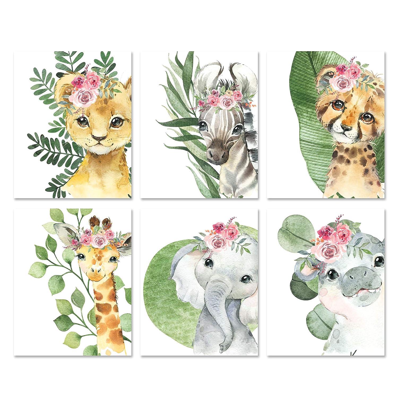 """Safari Animal Nursery Wall Art - Watercolor Baby Animal Portraits Nursery Decor for Baby Girls Room - Set of 6-8x10"""" Prints"""