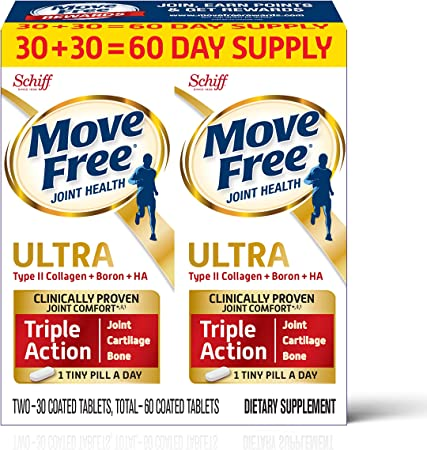 Type II Collagen, Boron & HA Ultra Triple Action Tablets, Move Free (60 count In A Value Pack Box), Joint Health Supplement With Just 1 Tiny Pill Per Day To Promote Joint, Cartilage and Bone Health