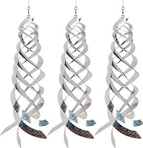Hausse Bird Repellent Spiral Reflectors Silver Mylar Spinner, Hanging Reflective Bird Deterrent Device, Garden Decorative Scare Birds Away, Like Woodpeckers, Pigeons and Geese, 3 Pack