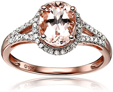 10k Rose Gold Morganite and Diamond Oval Halo Engagement Ring (1 5cttw 411430349bc4