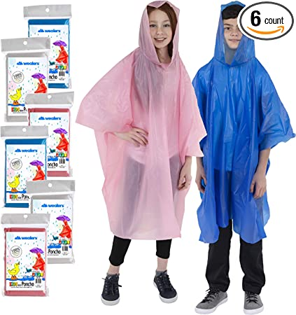 Kids reusable poncho in a clear PVC case