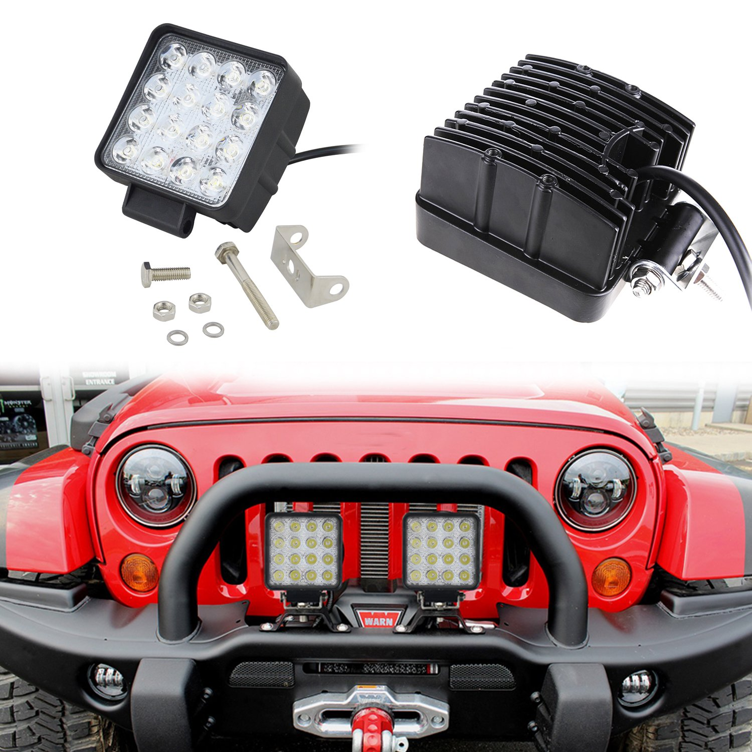 Dr.OX 5 Inch 10PCS Flood LED Work Light Bar 10D for Off Road Van Jeep SUV Truck Car ATV 4WD 4x4 RV UTE Tractor Vehicle Boat Driving Fog Lamp 96W