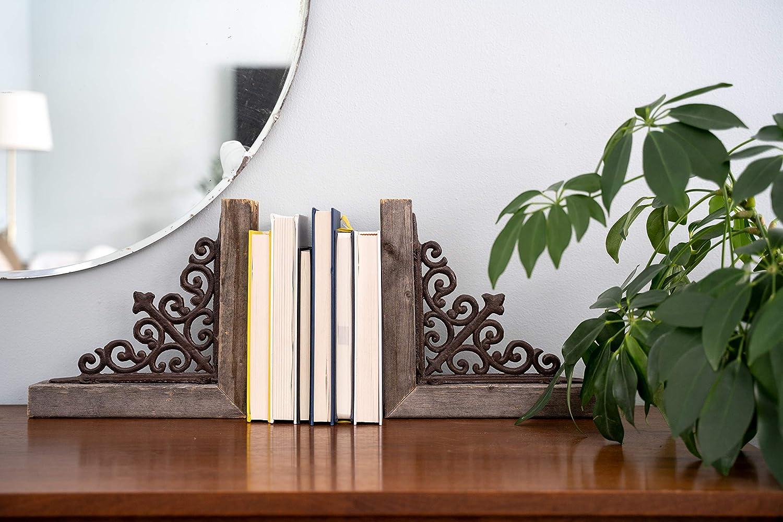 100/% recyceltes Holz Weathered Gray Regalb/öden BarnwoodUSA 2er Set Landhauskorbbels mit Metallklammern f/ür T/ürkante Theke