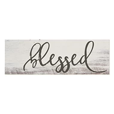Blessed White Rustic Wood Sign 6x18