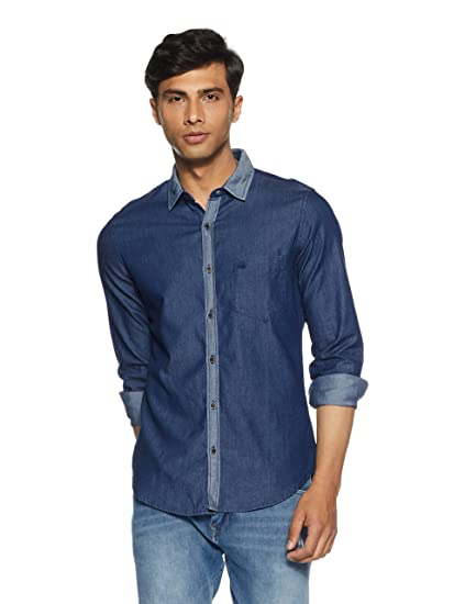 United Colors of Benetton Men s Solid Slim Fit Casual Shirt  Amazon.in   Clothing   Accessories 92b35c1e2b2