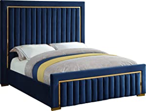 Meridian Furniture DolceNavy-K Dolce Collection Modern | Contemporary Velvet Upholstered Bed with Luxurious Channel Tufting and Gold Metal Trim/Legs, King, Navy