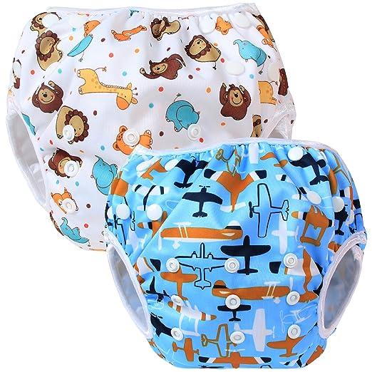 28 opinioni per Teamoy 2pcs Baby Nappy riutilizzabile pannolino da nuoto, Aircraft+ Fat Smile