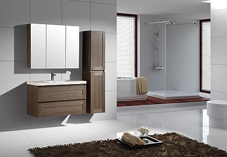 Jindoli Meuble Salle de Bain Simple Vasque avec 2 tiroirs ...